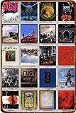 Cartel de chapa de metal vintage - The 20 Albums of Rush - Cartel de pintura de hierro retro Placa de decoración de pared para Bar Cafe Garden Home 8 × 12 pulgadas