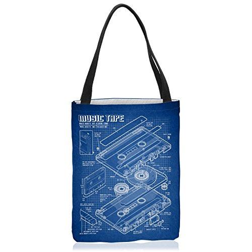 VOID Tape Blaupause Tasche Einkaufs-Beutel Polyester Shopper Einkaufs-Tasche Bag dj musikkassette Turntable Retro, Polyestertasche Größe:Large