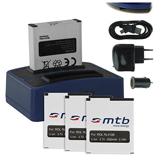 4X Akku + Dual-Ladegerät (Netz+Kfz+USB) für Rollei RL410B / Rollei Action Cam 230, 240, 400, 410 / Maginon AC-800W