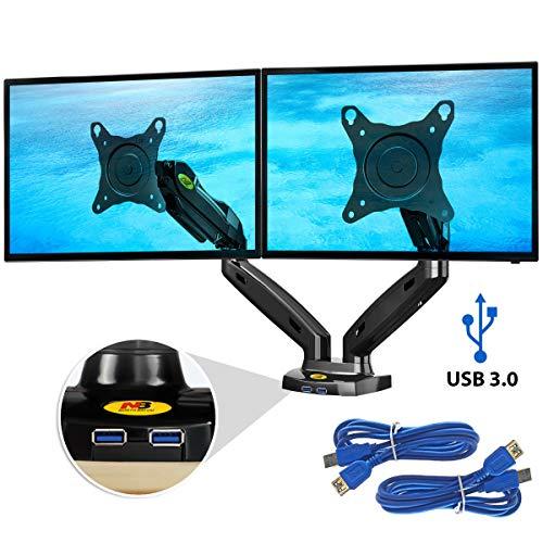 Ergosolid NB F160 Nero - Supporto da scrivania, braccio per monitor PC, LCD e LED Per 2 Monitor...