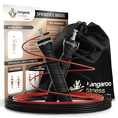 Kangaroo Fitness Springseil | Gewichtsverlust & Trainingsgerät für Zuhause | Ideales Sportgeschenk für Kinder & Erwachsene | Box-, Trainings- und Skipping-Set | Bonusseil, Tasche & Trainingsplan