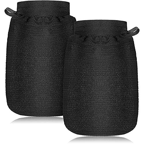 2 Piezas Guantes Exfoliantes Guante de Baño de Cuerpo Profundo Guante de Limpieza Corporal Guante de Fregado de Hammam Eliminación de Piel Muerta para Hombre Mujer Baño Ducha Spa Cepillo