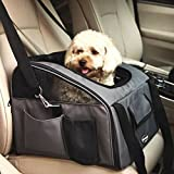 Pettom Pet Car Seat Carrier Airline Approved Dog Cat Lookout Booster Seat for Pets up to 15 lbs (Small, Grey)