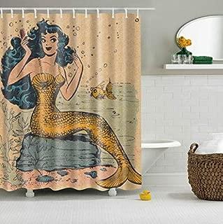 "GoJeek Vintage Mermaid Shower Curtain Retro Nautical Coastal Mermaid Kids Girl Summer Bath Shower Curtain (72"" 72"")"