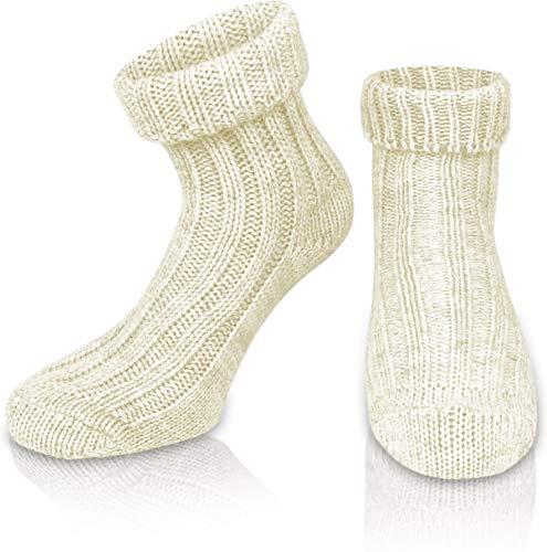 normani 2 Paar Sehr Warme weiche Umschlag Söckchen mit Alpaka Wolle/Bettsocken/Sauna Socken Farbe Wollweiß Größe 35-38