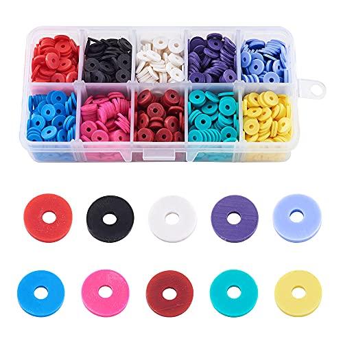 WEIMEIDA JQBB429 4800 cuentas de 10 colores planos redondos de arcilla de polímero, cuentas sueltas coloridas para pendientes, pulseras, manualidades, manualidades SGNTZ (diámetro del artículo: 4 mm)