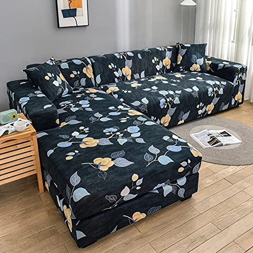 PPOS Fundas de sofá en Forma de L con Estampado de Estilo para Sala de Estar Protector de sofá Fundas elásticas Antipolvo para sofá de Esquina A11 Loveseat 145-185cm-1pc