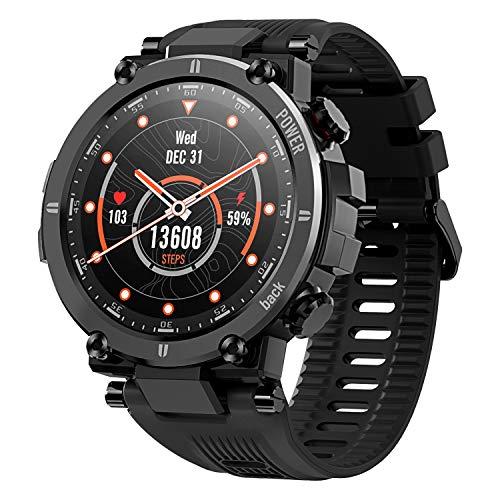 KOSPET Raptor Smartwatch, Sport Smart Watch mit ultraleichtem und robustem Gehäuse, 30 Tage Akkulaufzeit, IP68 wasserdicht, 20 Sportmodi Outdoor Activity Tracker für Männer Android iOS (Schwarz)