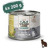 Wildes Land | Nassfutter für Katzen | Nr. 7 Huhn PUR für Kitten | 6 x 200 g | Nassfutter für Jungtiere | Getreidefrei & Hypoallergen | Extra viel Fleisch