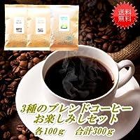 珈琲屋ほっと 3種のブレンドコーヒーお楽しみコーヒーセット 各100g×3 合計300g(約30杯分) 豆のまま