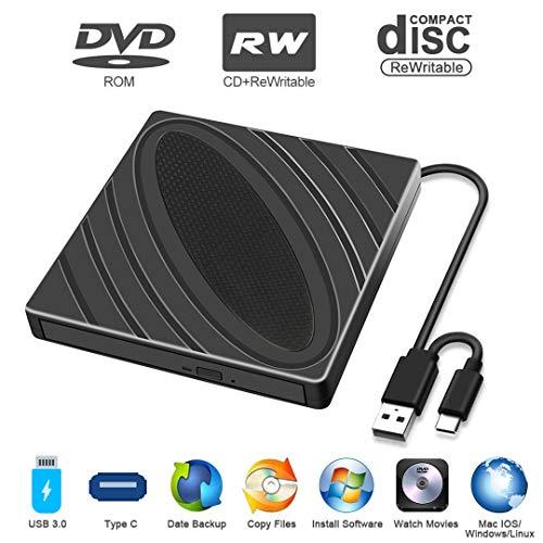 Externes CD-DVD-Laufwerk, Tragbarer USB 3.0 Typ C-CD/DVD-RW-Brennerleser, Rauscharme Hochgeschwindigkeitsdatenübertragung, Super-Laufwerk für Laptop, Desktop, Mac, IOS, Windows 10/8/7 / XP/Linux