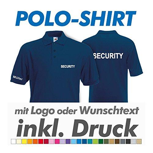 hanse graphics Polo Shirt, Navy, Fruit of The Loom, inkl. Ihrem Wunschtext/Logo Druck Werbedruck, z.B. THW/Feuerwehr