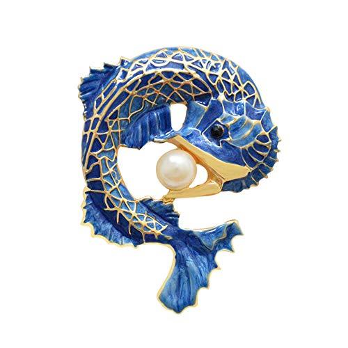 JUNGEN Drachen Fisch Brosche Vergoldet Emaille Broschennadeln für Kleidung Zubehör