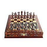 Lsqdwy Inicio Accesorios HIUHIU Juego de ajedrez de Metal con Estatua de Bronce Antigua del faraón Egipcio Tablero de ajedrez de Madera Maciza Natural Hecho a Mano 9 cm Rey Oculto