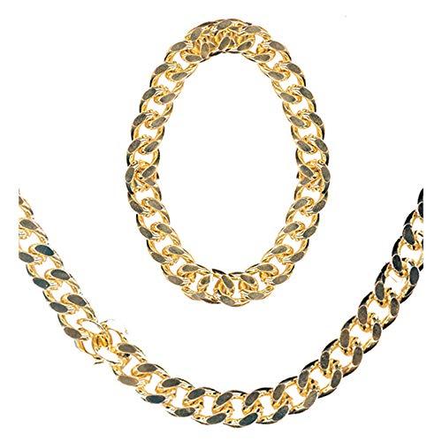 Widmann 5035F Halskette und Armband für Ganster, Rapper-und Zuhälter Kostüme, Gold, one Size