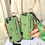 stargoldenbell 360°Shockproof Silicone Case Cover with Strap Ring Holder for iPhone 6 7 8 X XS Avocado Hand Wrist Shell iPhone XR