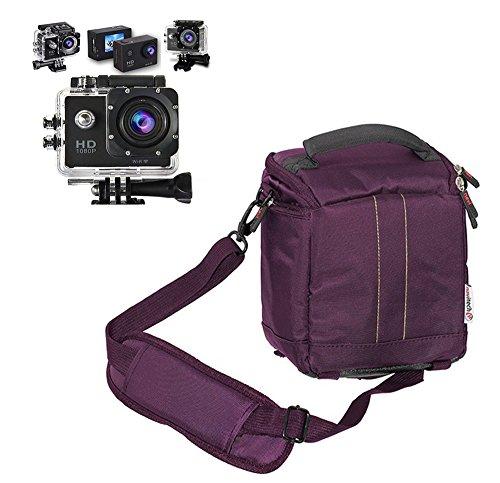 Navitech lila Action Kameratasche/Abdeckung - Mit Mehreren Taschen, einschließlich anpassbare interne Ablagefächer für die HTC RE