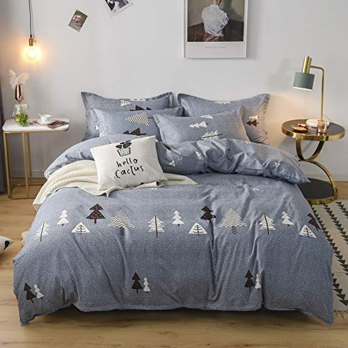 BH-JJSMGS Pure cotton quilted padded bedding, printed duvet cover and pillowcase, wood forest wind 200 * 230cm