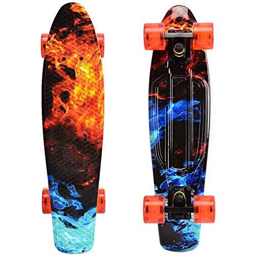 WonderTech Mini Skateboard Kinder Penny Board Jungs 22 Zoll Cruiser Board Mädchen und Jugendliche 55 cm