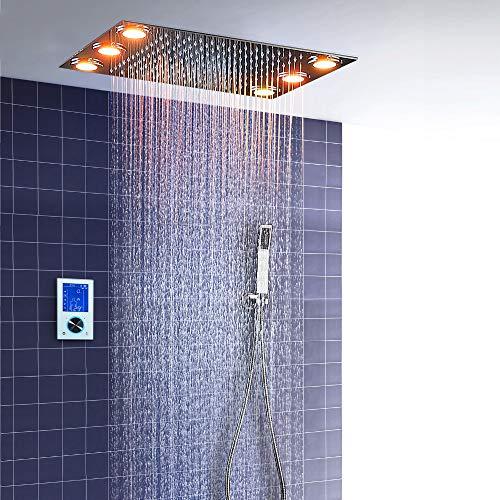 hm Duschsystem,360x500mm Multifunktional Dusche mit konstanter temperatur,Wasserfall Duschkopf, 304 Edelstahl,Handbrause,Rain shower Brausegarnitur,Waterfall SPA Bath & Shower Faucets