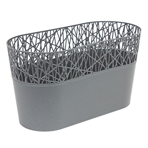 Ovale cache-pot CITY 28.5 cm en plastique romantique style, en graphite
