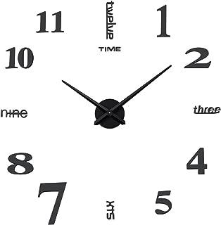 Aililife 3D DIY Wall Clock Decor Sticker Mirror Frameless Large DIY Wall Clock Kit for Home Living Room Bedroom Office Decoration (Black)