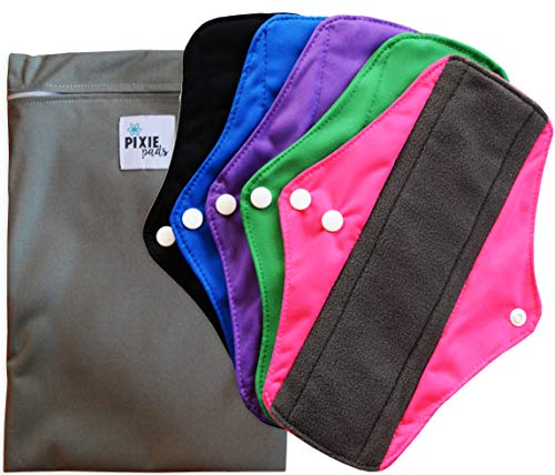 Pixie Pads - Ranked 1 for Most Soft Reusable Menstrual Pads - Includes Cloth Wet Bag for Panty Liners - Medium Flow (Pack of 5)