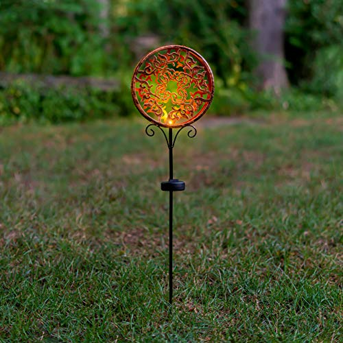 Solar LED Shadow Stake Light - Outdoor Decorative Light, Copper Design, for Pathway, Garden, Outdoor Living Area, 2.5 Feet Tall - Copper Sun