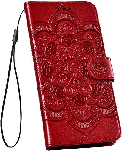 Ysimee Hülle kompatibel mit Xiaomi 9 Pro Handy Schutzhülle/Klapphülle PU Lederhülle mit Standfunktion und Kartenfach, extra Dünn, Mandala Muster Tasche Einfarbig, Leder Handyhülle - (Rot)
