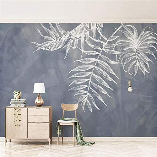 Papel pintado Mural personalizado Papel pintado moderno 3D Azul marino Estilo Hoja Foto Pintura mural Sala de estar TV Sofá Ropa de cama Mural 1 * 1M Tela de seda personalizable Huzi