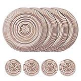 Set di 8 tovagliette rotonde intrecciate, tovagliette in cotone da 38 cm e sottobicchiere da 11 cm, tovagliette lavabili resistenti al calore per cucina, tavolo da pranzo (Grigio)