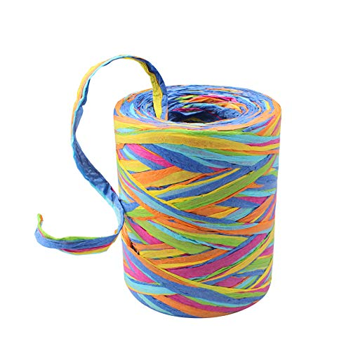 Raffia Paper Ribbon Environmental Protection 6-Strand Ribbon Multicolour for Gifts for DIY Art Decoration, Gift Box Wrapping, Fixed Bouquet