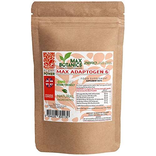 Max Adaptogen 6 | Ashwagandha, Bacopa, Cordyceps, Holy Basil, RhodioIa Rosea, Siberian Ginseng | Natural | Vegan | UK Manufactured | GMP Standard (60 Capsule Pouch)