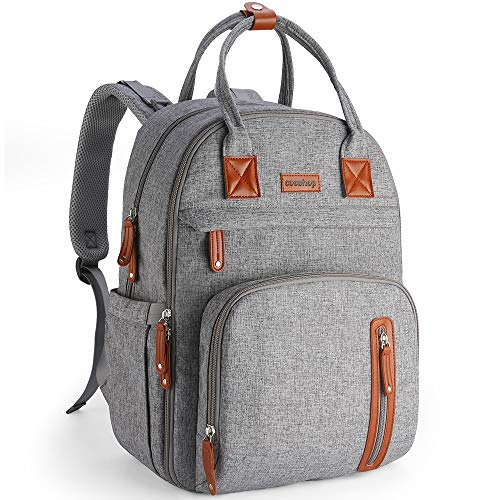 Diaper Bag Backpack for Women, COCOHOP Multifunction Maternity Baby Nappy Changing Bags Waterproof Travel Back Pack with Stroller Straps & Trunk Trap, Unisex and Stylish (Grey)