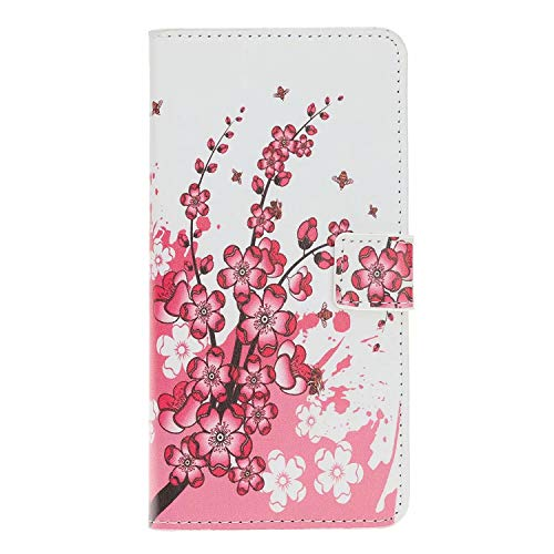 Nokia 1.4 Phone Case,ShockProof PU Leather Flip Cover Notebook Wallet Case with Magnetic Closure Stand Card Holder ID Slot Folio Soft TPU Bumper Protective Skin,Plum blossom