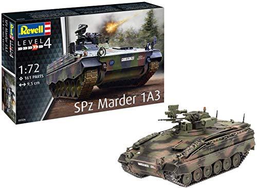 Revell 03326 SPZ Marder 1A3, Panzermodell 1:72, 9,5 cm originalgetreuer Modellbausatz für Fortgeschrittene, unlackiert