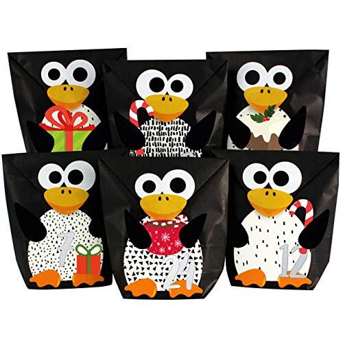 DIY Adventskalender zum Befüllen - ausgestanzte Pinguine - mit 24 schwarzen Papiertüten zum selbst Befüllen und zum Selberbasteln - Weihnachten 2019 für Kinder