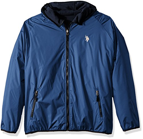 U.S. POLO ASSN. Herren Reversible Poly Shell To Fleece Hooded Jacket Fleecejacke, Blue Wal 9029, Large