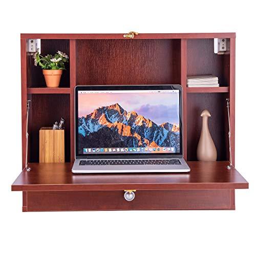 Giantex Wandtisch klappbar, Wandschreibtisch Wandklapptisch Holz mit 6 Fächern & Schublade, Schreibtisch Laptoptisch Klapptisch Wandmontage, 60 x 50 x 14 cm (braun)