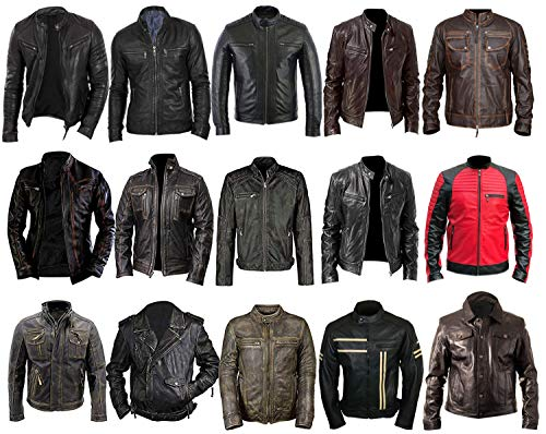 Mens Vintage Brando Biker Cafe Racer Motorcycle Leather Jacket Collection, 3) Distressed Black Moto Real Leather, Medium