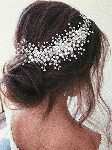 Vakkery Peigne à Cheveux de Mariage avec Fleur Argent Perle...