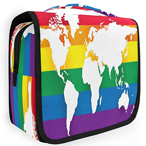 Olinyou World Map Rainbow Gay Pride Travel Toiletry Cosmetic Bag Hanging Shower Makeup Bag Pouch Portable Train Tote Case Organizer Storage For Women Girls