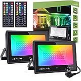 Novostella 60W Focos LED RGB 2 Piezas, Proyector LED 20 Colores y 6 Modos Controlador de 44 Teclas con Función de Temporizador, IP66 Impermeable Iluminación para Exterior Navidad Árboles Jardín