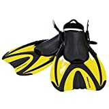 Snorkel Master Adult Yellow Swimming Snorkeling Fins, Medium