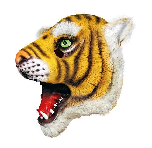 Furry Rubber Black and Orange Tiger Overhead Full Face Mask