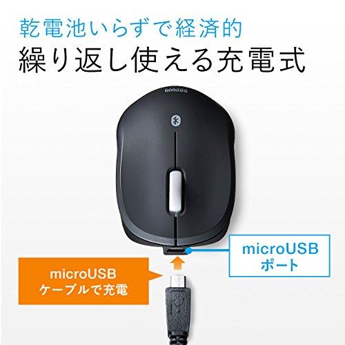 『サンワダイレクト Bluetoothマウス 超小型 充電式 Bluetooth4.0 ブルーLED レッド 400-MA074R』の2枚目の画像