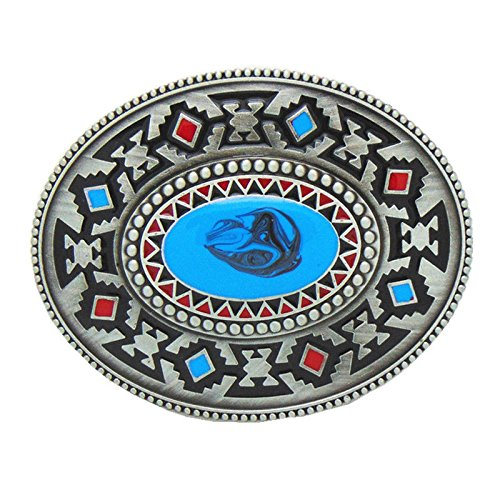 Unique Celtic Totem Turquoise Metal Belt Buckle Native American Style Leather