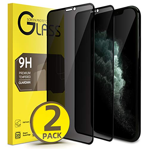 Privacy Screen Protector for iPhone 11 Pro Max and iPhone Xs Max【2 Pack】Full Coverage 6.5 Inch, Anti Spy Tempered Glass Film with [Installation Frame],Anti Scratch, No Bubbles