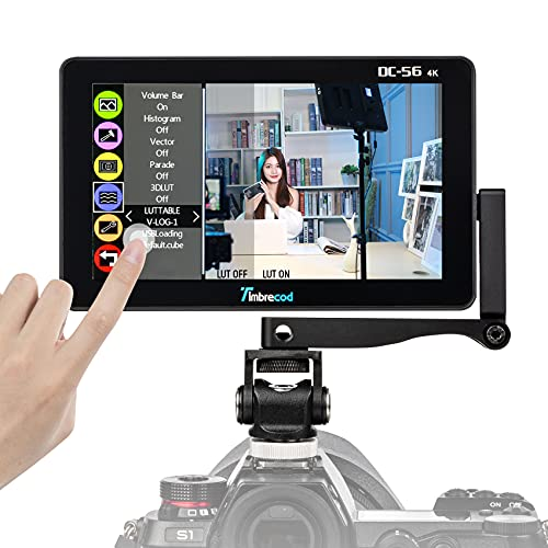 5.5 Inch Camera Field Monitor, Ultra HD Built-in 3500mAh Li-ion Rechargeable Battery 1920 x 1080 IPS Screen Support 4K HDMI/AV DC Input Output Histogram Video Monitor for Camera/DSLR Camcorder