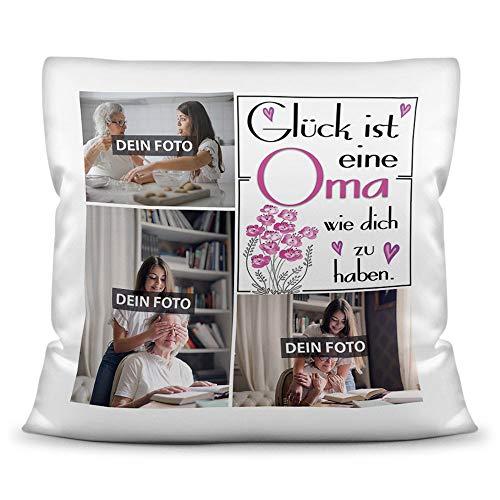 Print Royal Foto-Kissen inkl. Füllung zum Selbstgestalten - für Oma - mit eigener Collage und Spruch - Bestes Fotogeschenk/Geburtstagsgeschenk - Kissen Polyester - Weiß